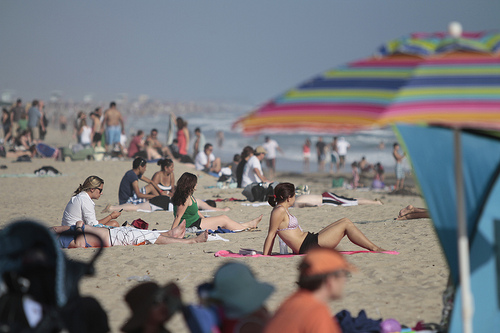 bathers at a beach