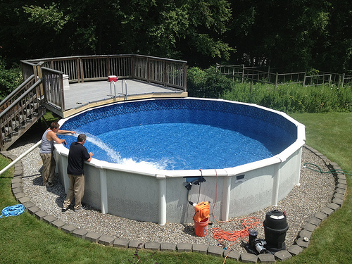 above-ground pool being installed