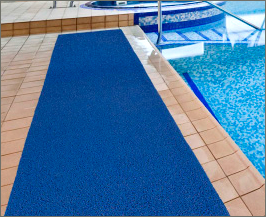 The frontier mat is the perfect poolside mat because its vinyl loop surface lets moisture seep through.