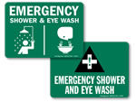 Eye Wash + Shower Combination Signs