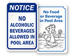 No Food or Drink in Pool Signs