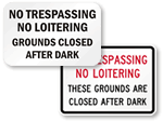 No Trespassing After Dark Signs