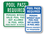 Pool Pass Required Signs
