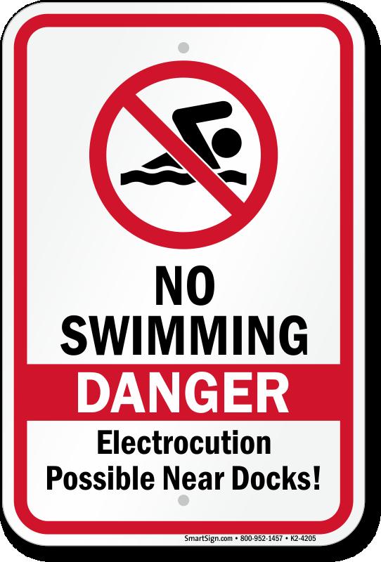 Danger No Swimming Electrocution Possible Sign, SKU: K2-4205