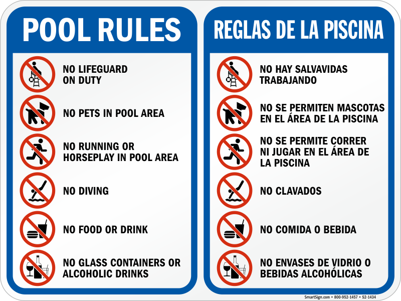 Bilingual Pool Area Rules Sign With Symbols Sku S2 1434