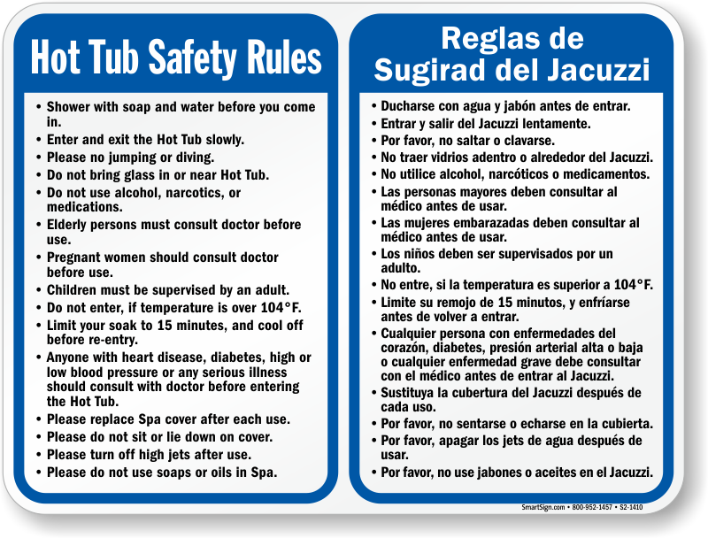 Bilingual Spa Hot Tub Safety Rules Sign, SKU: S2-1410