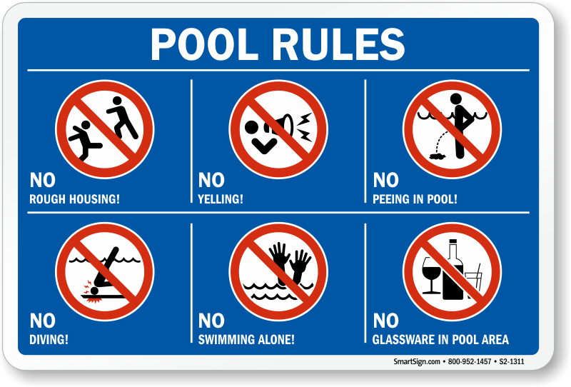 Pool Rules Symbol Sign, SKU: S2-1311
