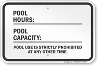New York Pool Hours Rule Sign