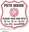 Pets Inside Shield Sign