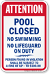 Kentucky (Jefferson County) Pool Safety Sign
