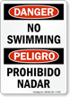 OSHA Bilingual Pool Danger Sign