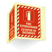 Bilingual Glow-In-The-Dark Projecting Fire Extinguisher Sign, 6 in. x 5 in.